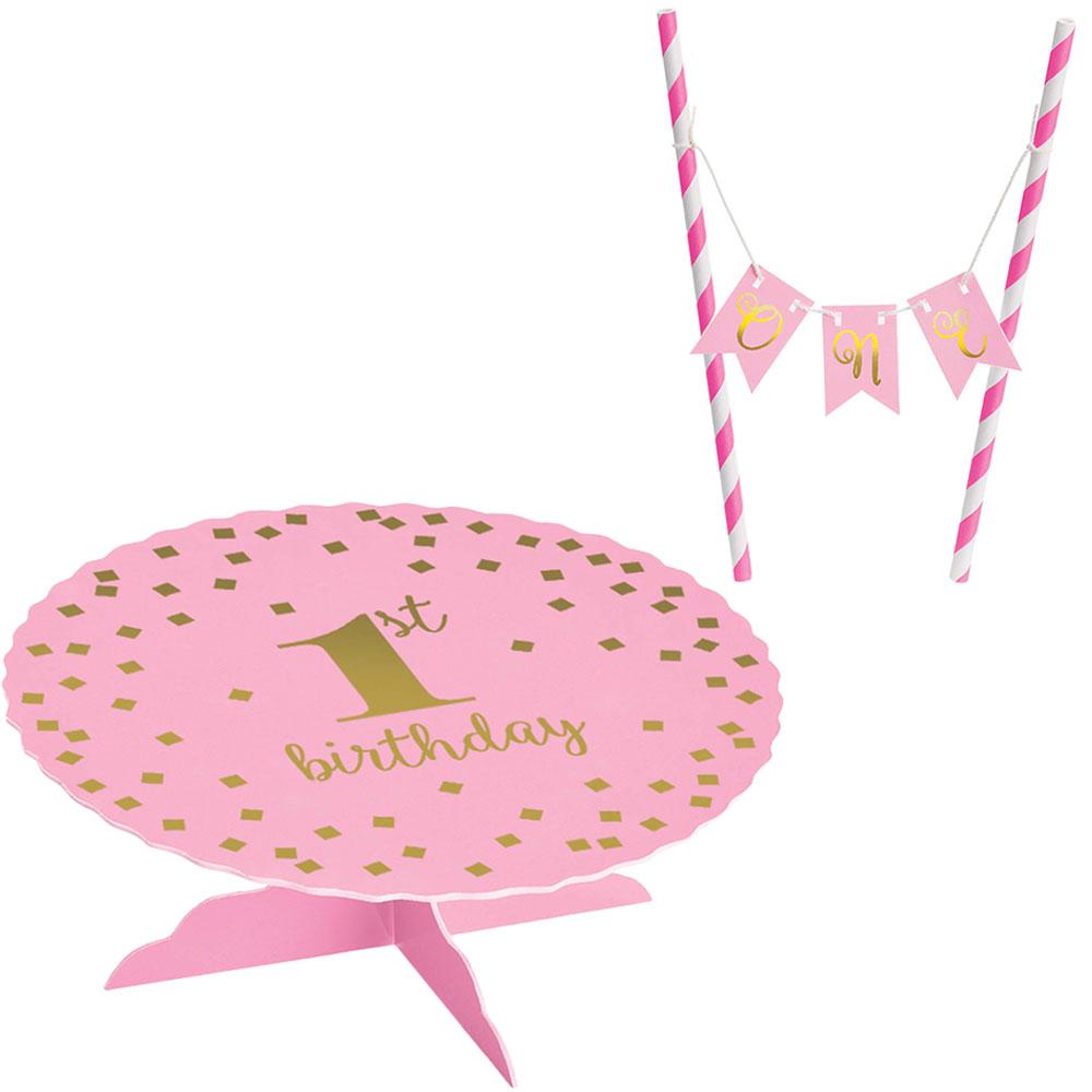 100052 ミニケーキスタンドキット『ファーストバースデー』(ピンク)