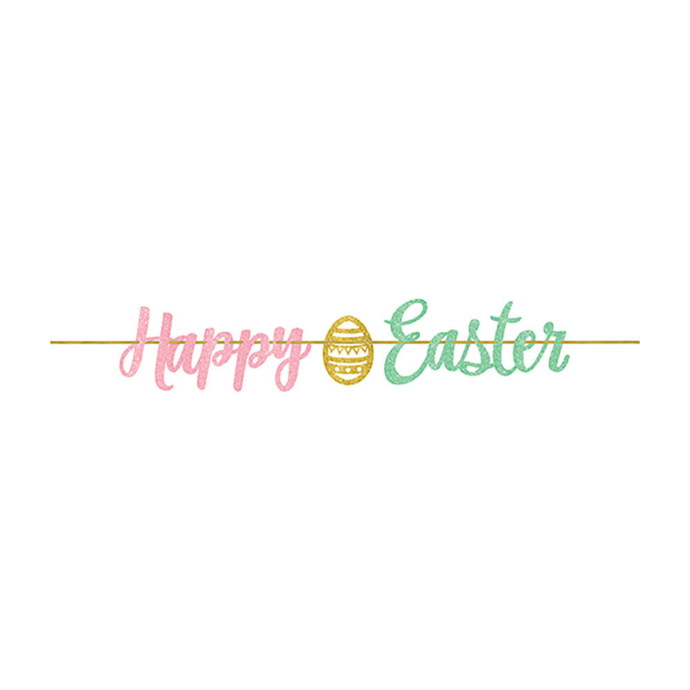 Script Banner with Glitter Easter