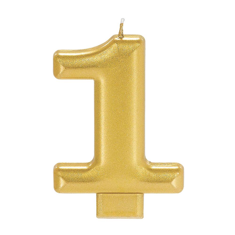 170417 メタリックナンバーキャンドル「1」( ゴールド)