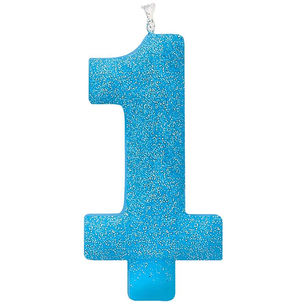 グリッターキャンドル ナンバー#1 ブルー
