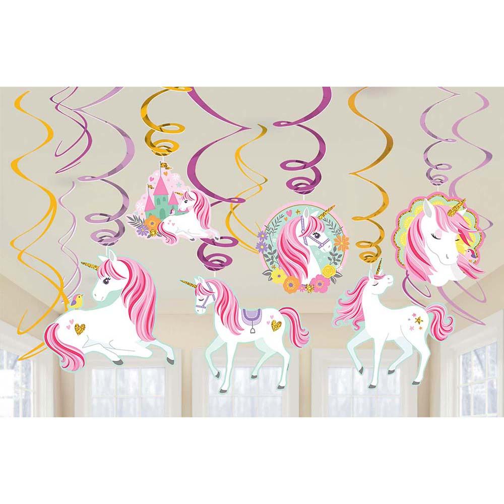 Foil & Glitter Swirl Decorations Magical Unicorn
