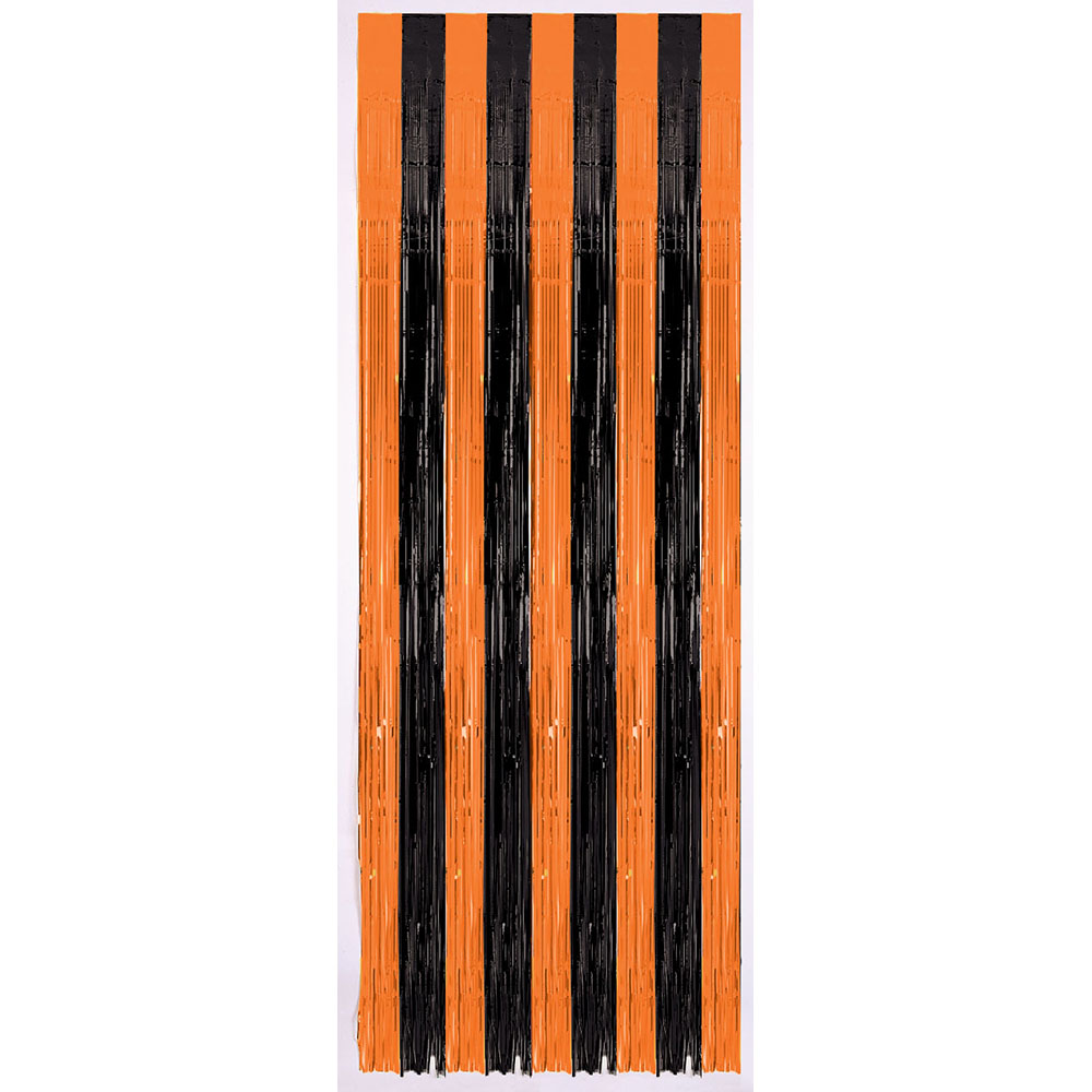 Door Curtain Orange / Black
