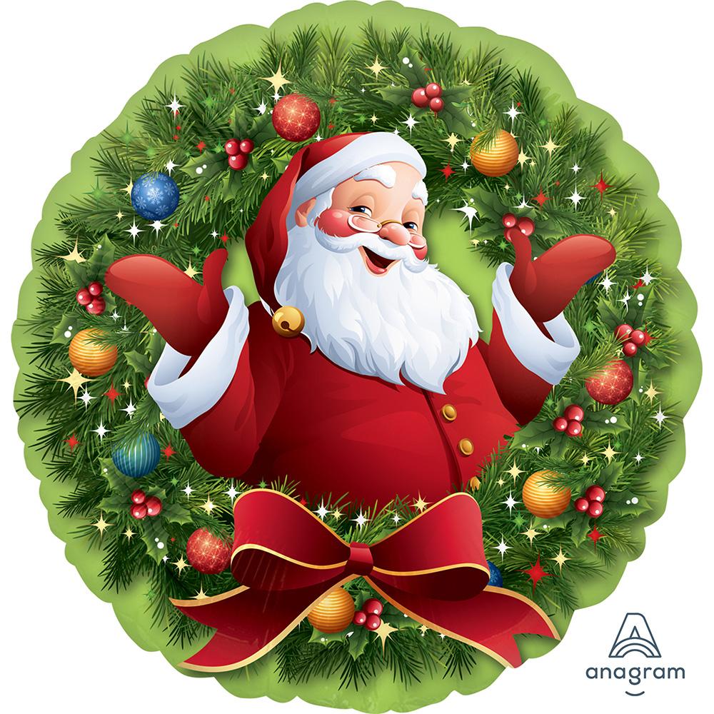 Jolly Santa in Wreath