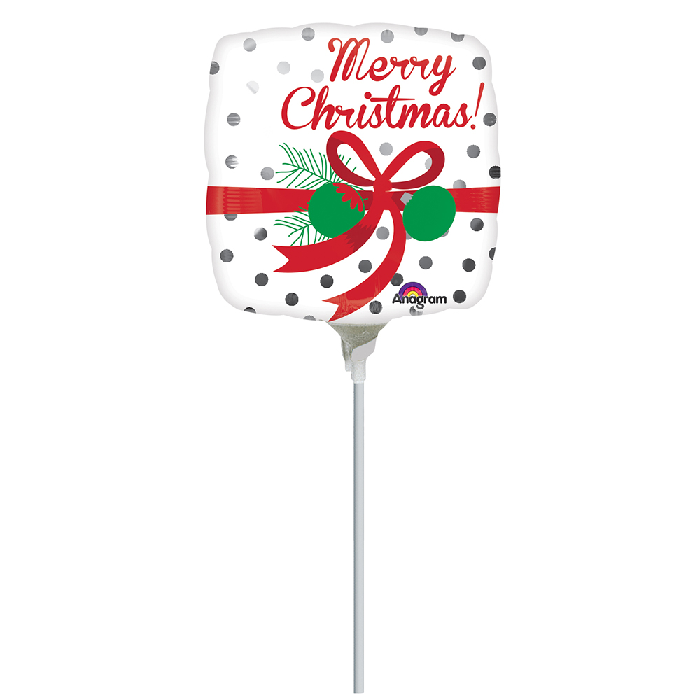9″ Merry Christmas Silver Dots