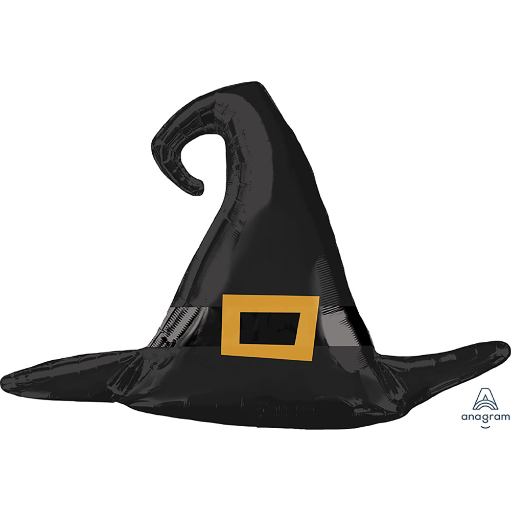 Satin Black Witch Hat Super Shape