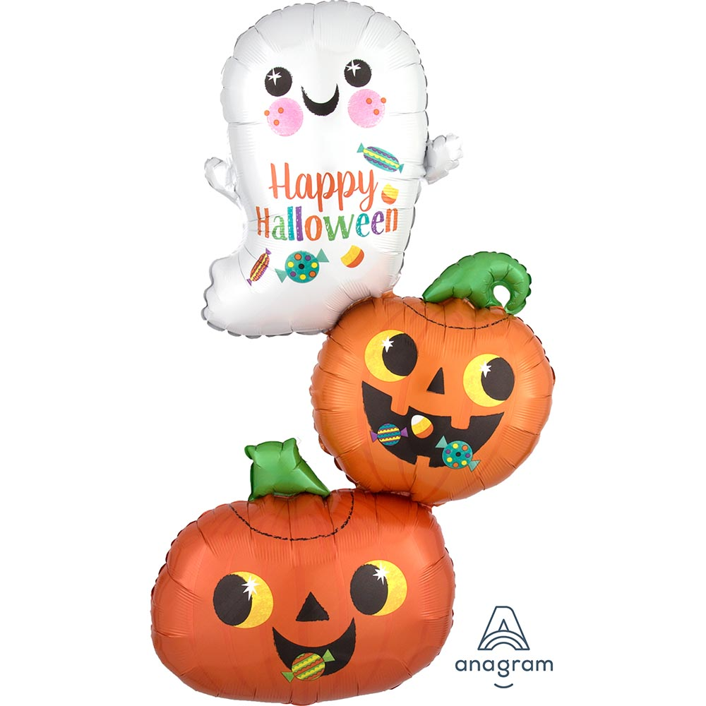 Happy Ghost & Pumpkin Stack