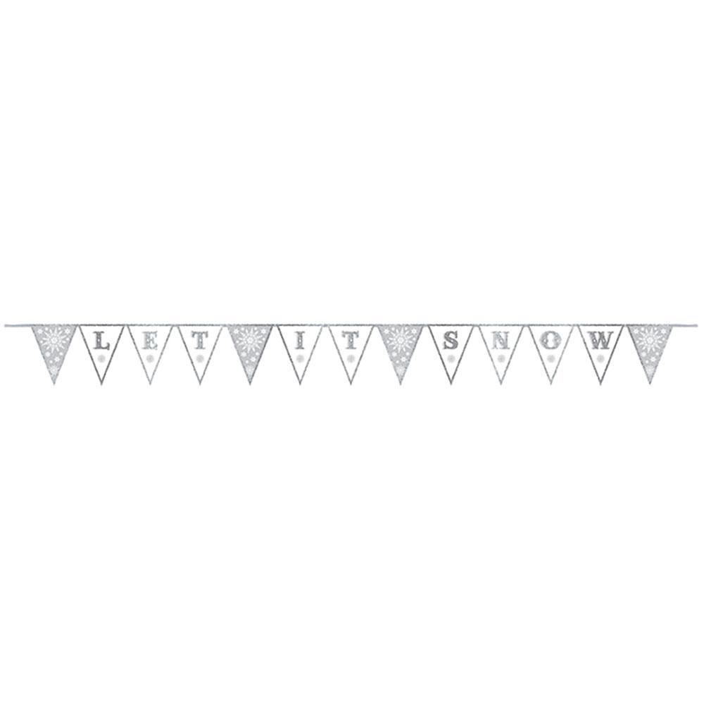 Snowflake Glitter Pennant Banner