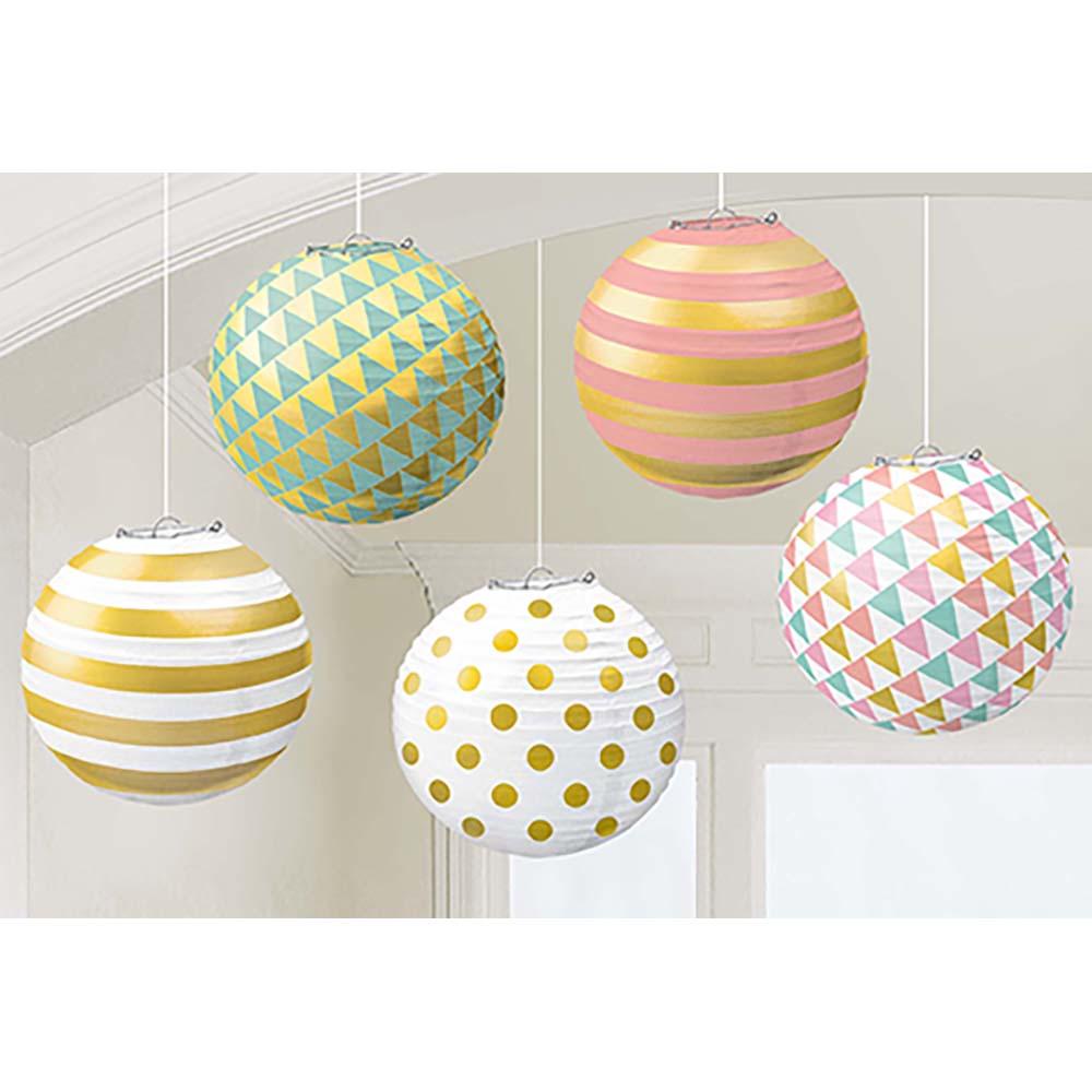 Foil H-S Paper Lanterns w/Metal Frames – Pastel