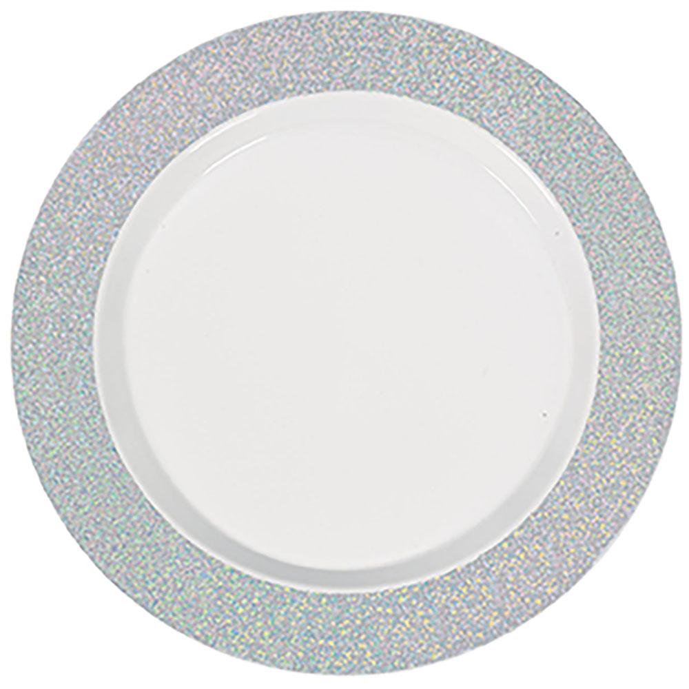 Premium Plates White with Prismatic Border