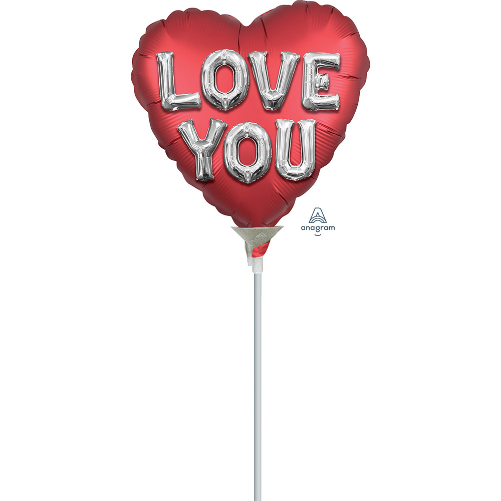 4″, 9″ Satin Love You Balloon Letters