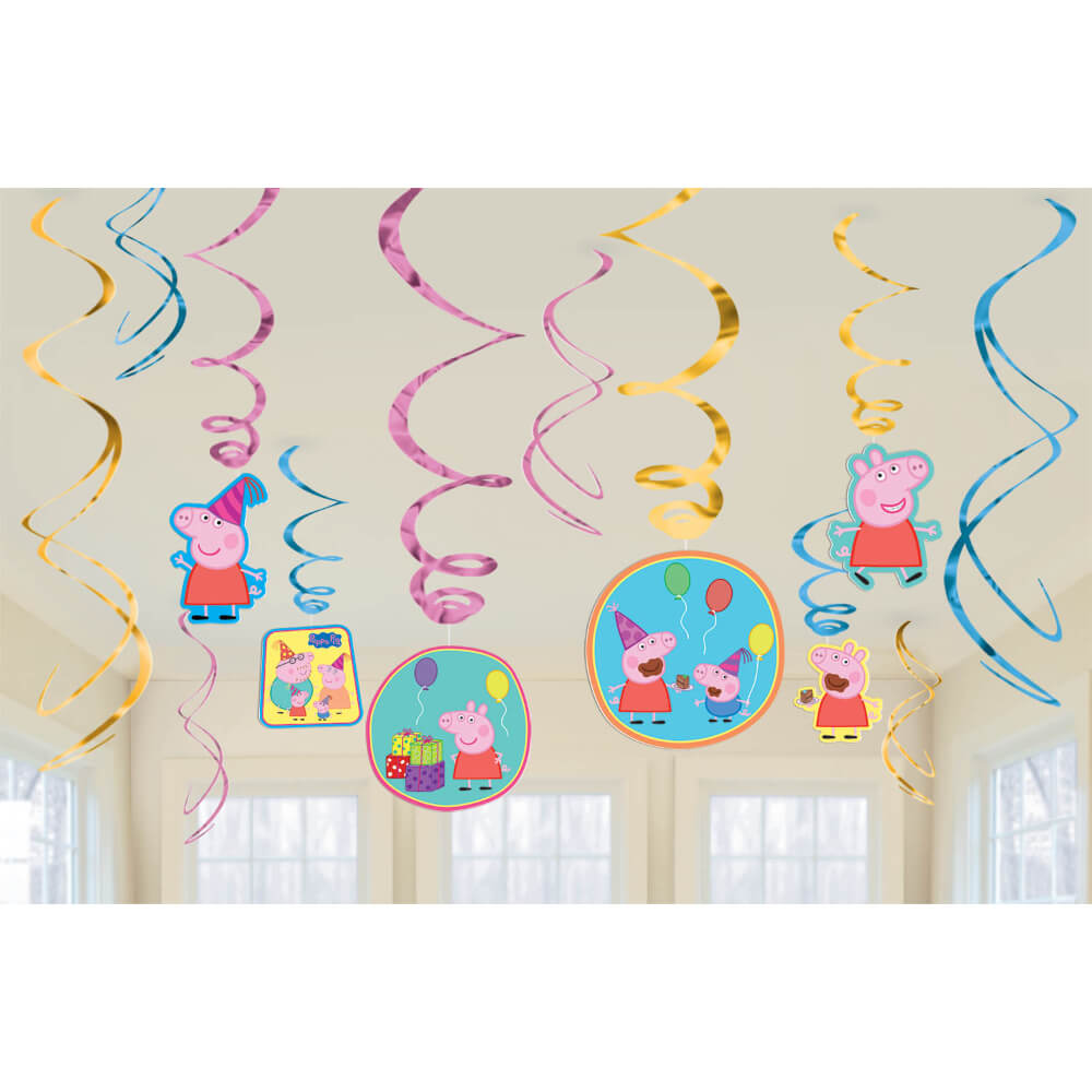 Foil Swirl Decorations Peppa Pig