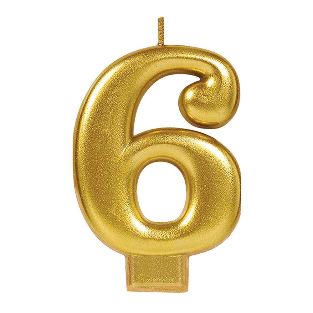 170422 メタリックナンバーキャンドル「6」( ゴールド)