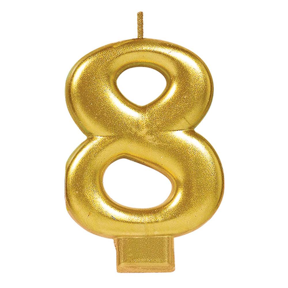 170424 メタリックナンバーキャンドル「8」( ゴールド)