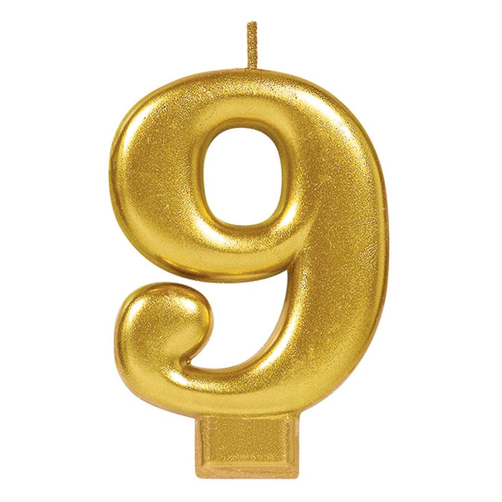 170425 メタリックナンバーキャンドル「9」( ゴールド)