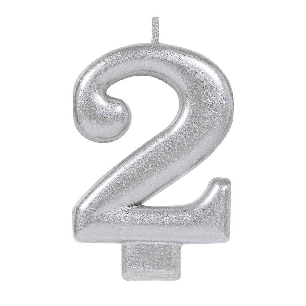 170578 メタリックナンバーキャンドル「2」( シルバー)