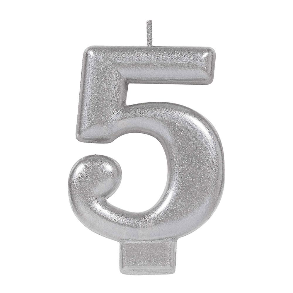 170581 メタリックナンバーキャンドル「5」( シルバー)