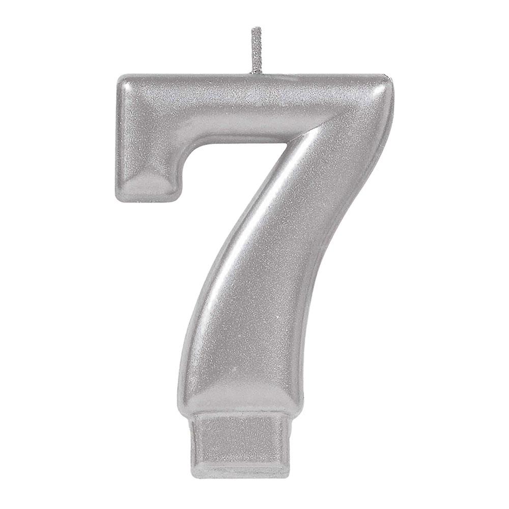 170583 メタリックナンバーキャンドル「7」( シルバー)