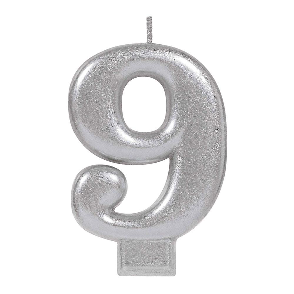 170585 メタリックナンバーキャンドル「9」( シルバー)