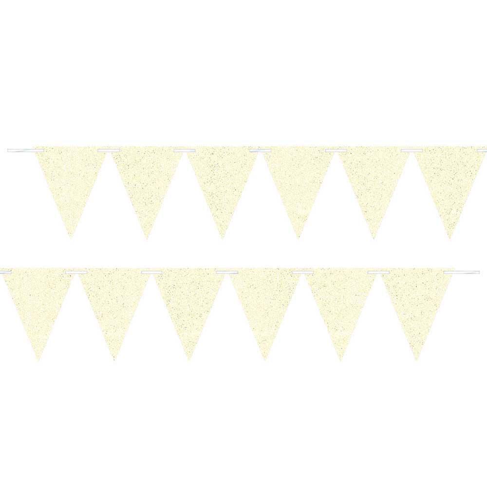 120503 ラージ ペーパー ペナント バナー(ホワイト スパークル)