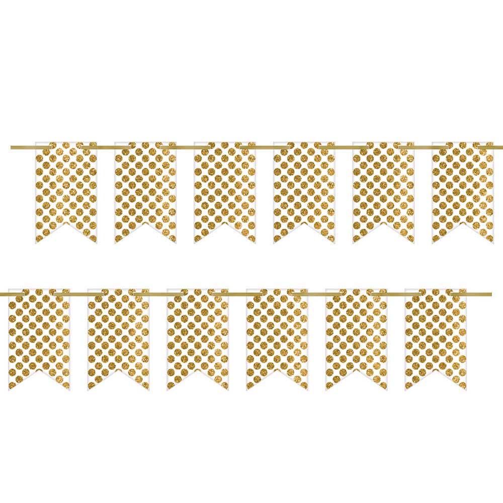 120506 2ピン ペナントバナー(ホワイト/ゴールド グリッタードッツ)