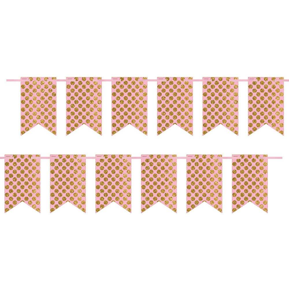 120507 2ピン ペナントバナー(ピンク/ゴールド グリッタードッツ)
