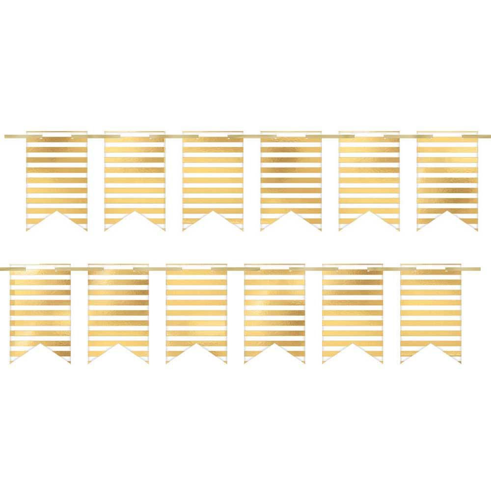 120510 2ピン ペナントバナー(ホワイト/ゴールド ストライプ)