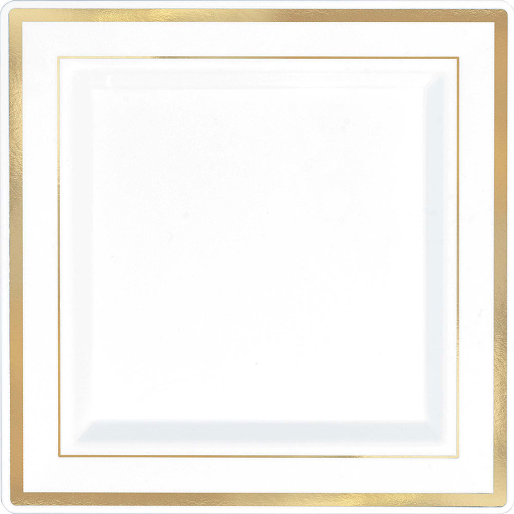 430068/430067 プレミアム スクエア プレート(ホワイト/ゴールドトリム)