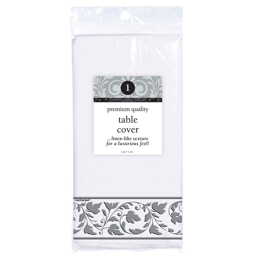 574500 テーブルカバー(ホワイト/シルバートリム)