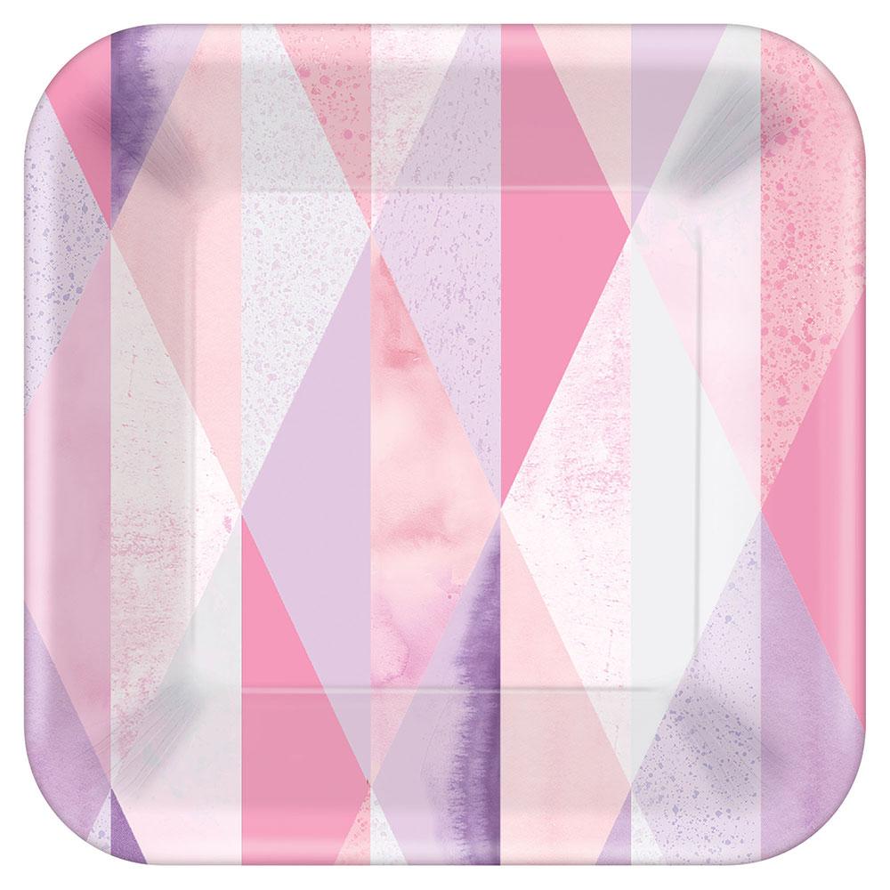 542620 7インチ スクエア プレート 『ピンク ジオ』
