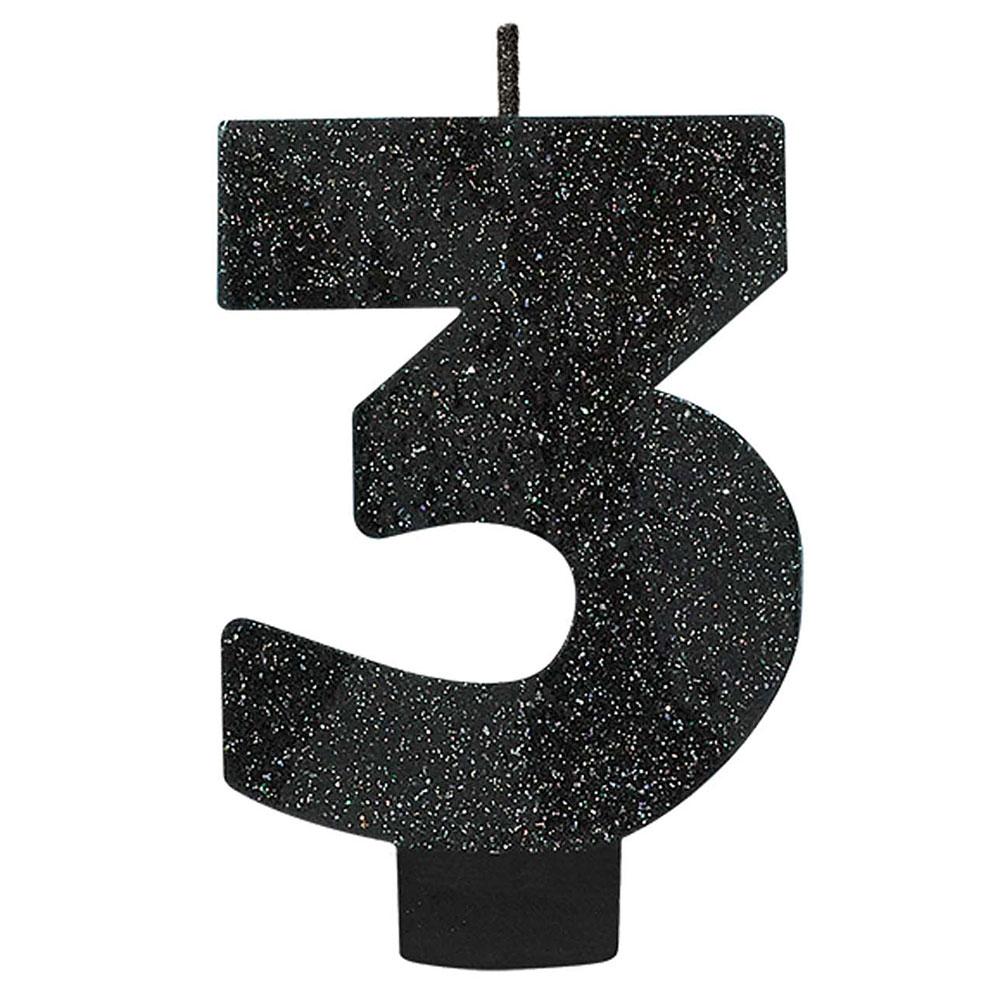 170409 グリッター キャンドル「3」(ブラック)