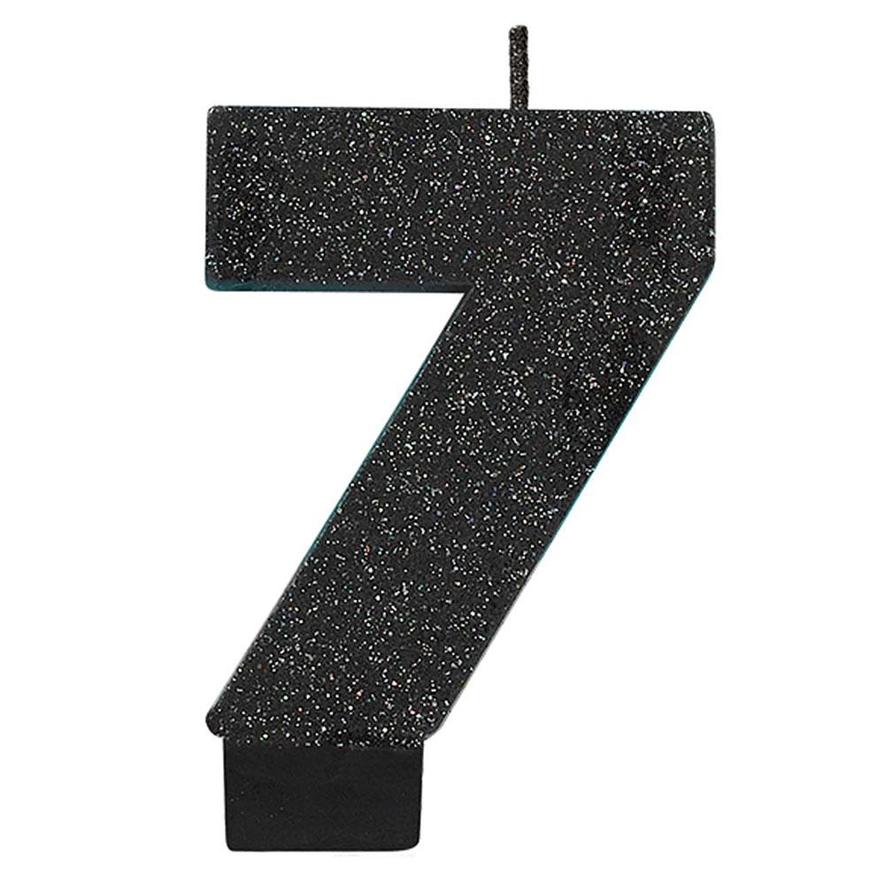 170413 グリッター キャンドル「7」(ブラック)