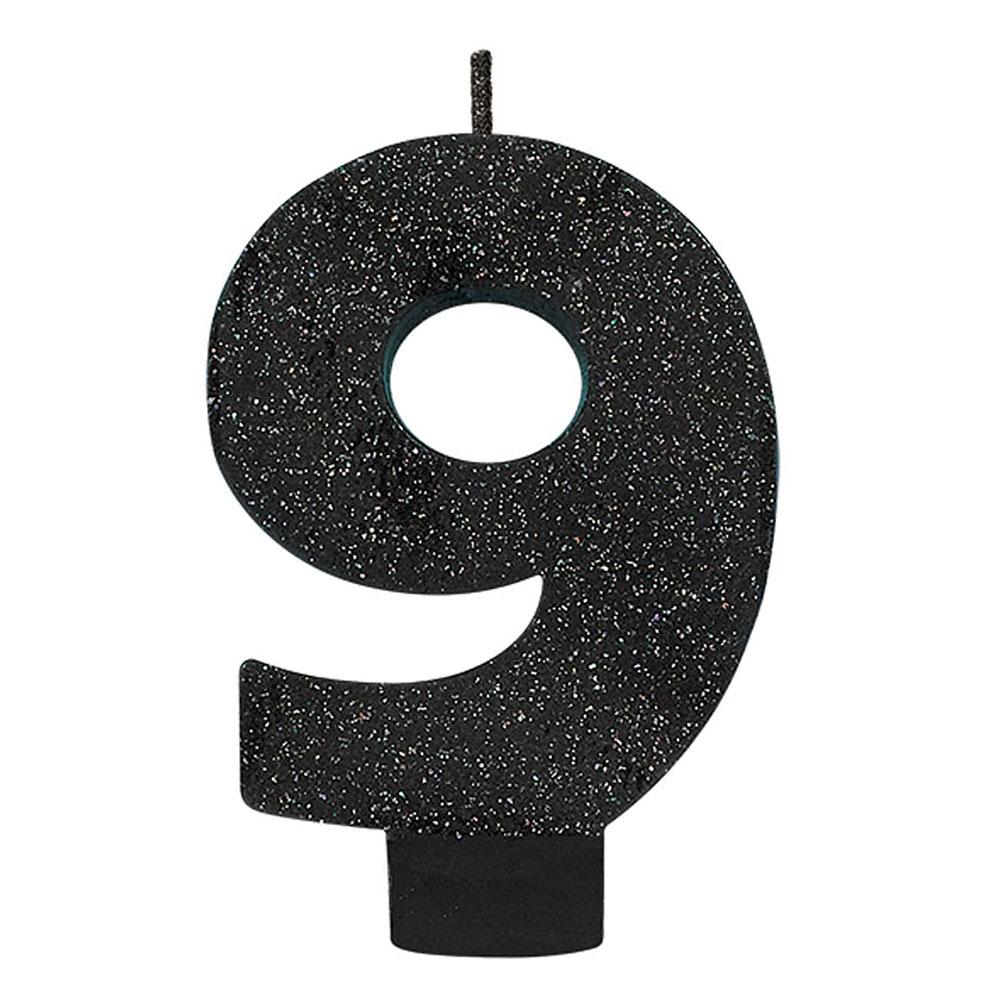 170415 グリッター キャンドル「9」(ブラック)