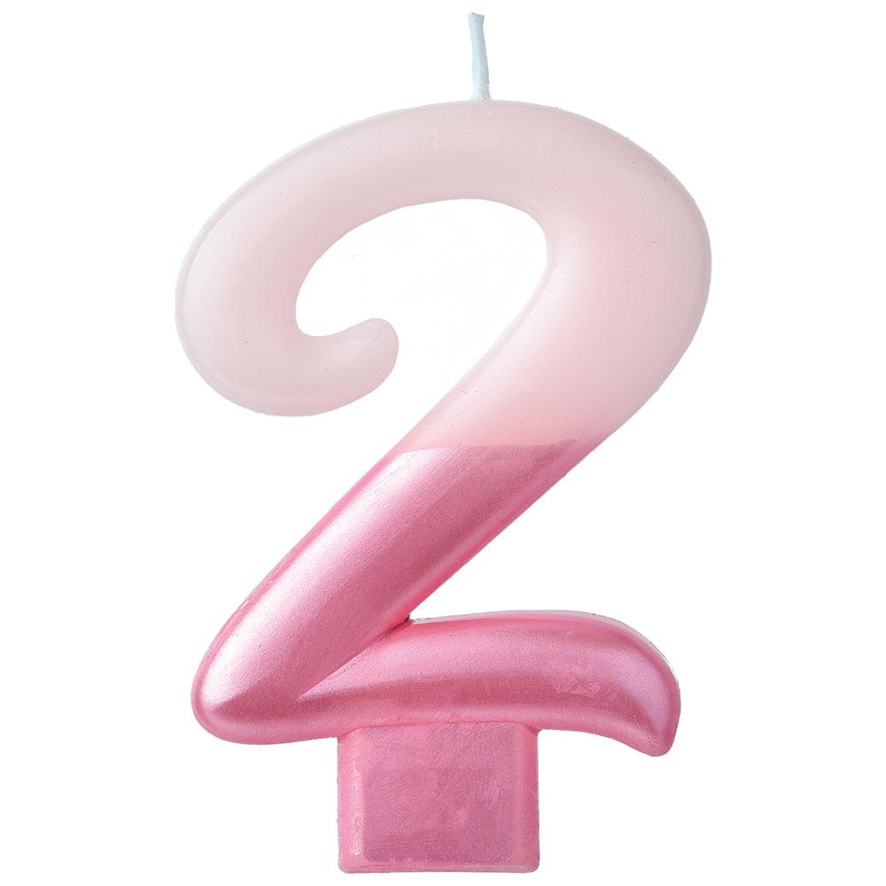 170743 メタリックナンバーキャンドル「2」(ピンク)