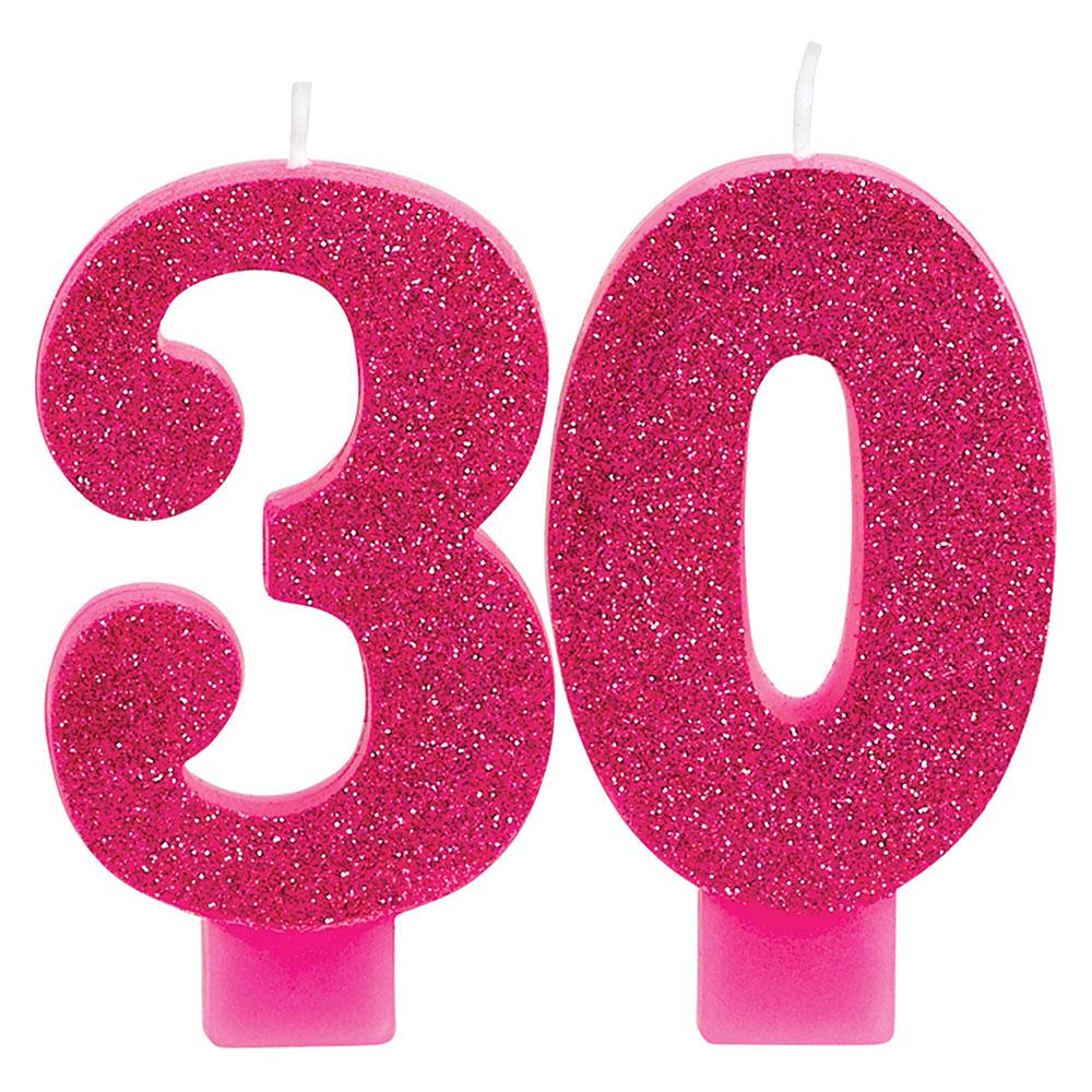 171909 ナンバーキャンドル「30」(ピンク&ゴールド)