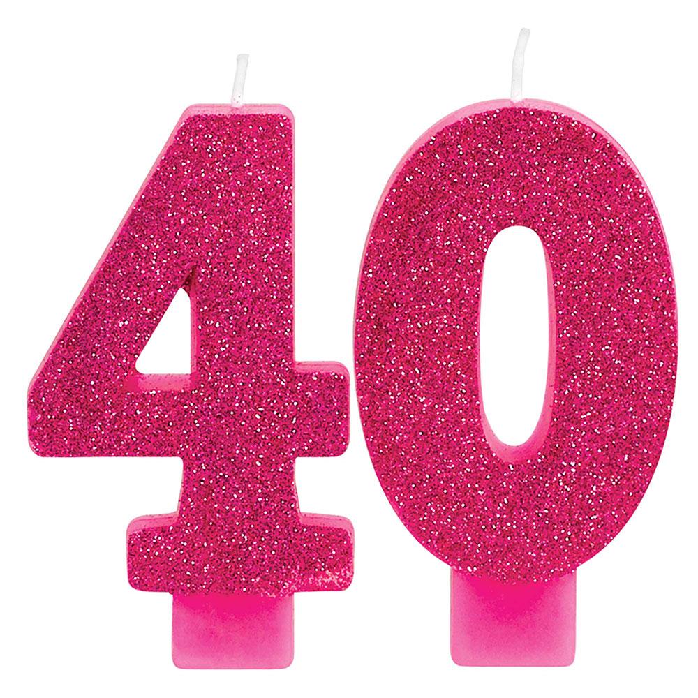 171913 ナンバーキャンドル「40」(ピンク&ゴールド)
