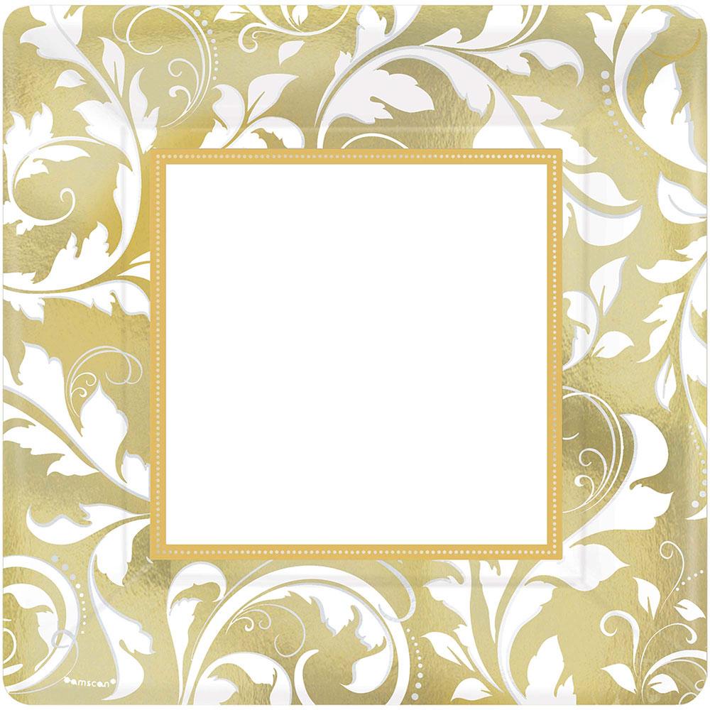593851 スプエアプレート10インチ『ゴールド エレガント スクロール』
