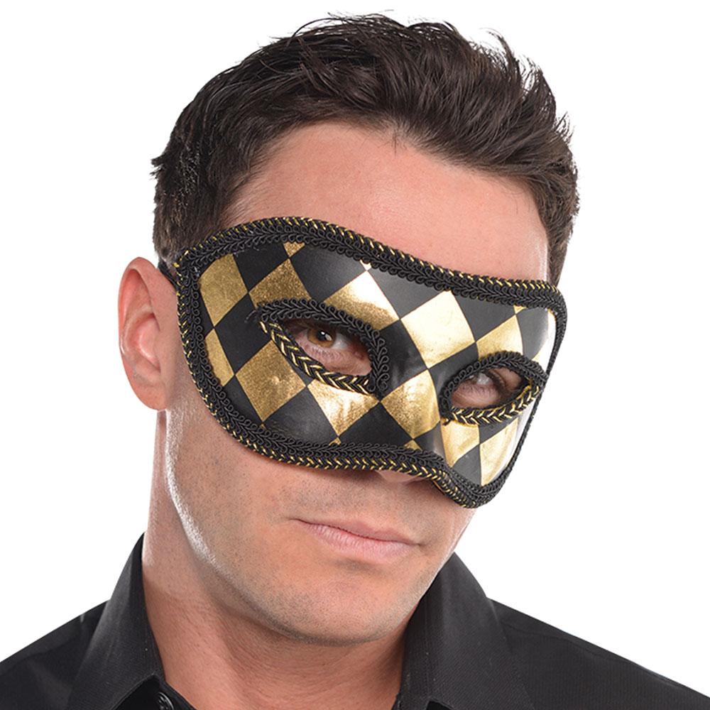 845664 ハーレクイン ブラックゴールド マスク